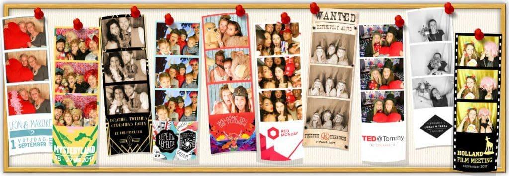 prikbord met fotostrips als je bij ons denkt aan photobooth huren