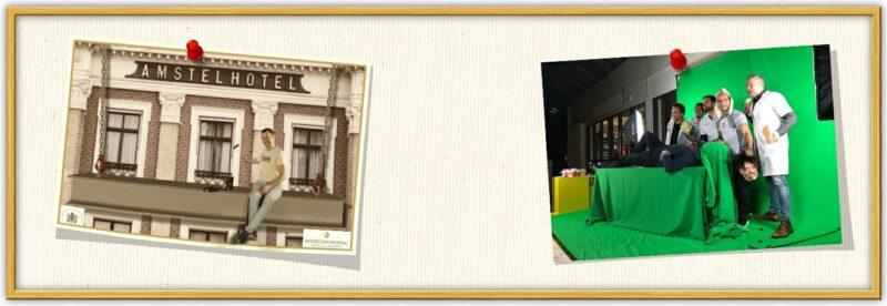 prikbord met een fotos' van onze greenscreen fotostudio