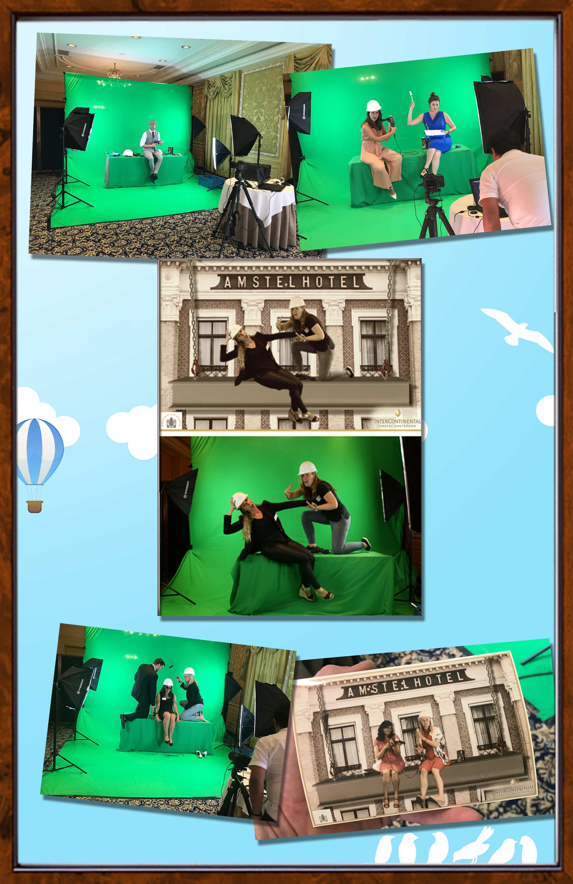 green screen huren bij het Amstel Hotel in Amsterdam dit is de collage
