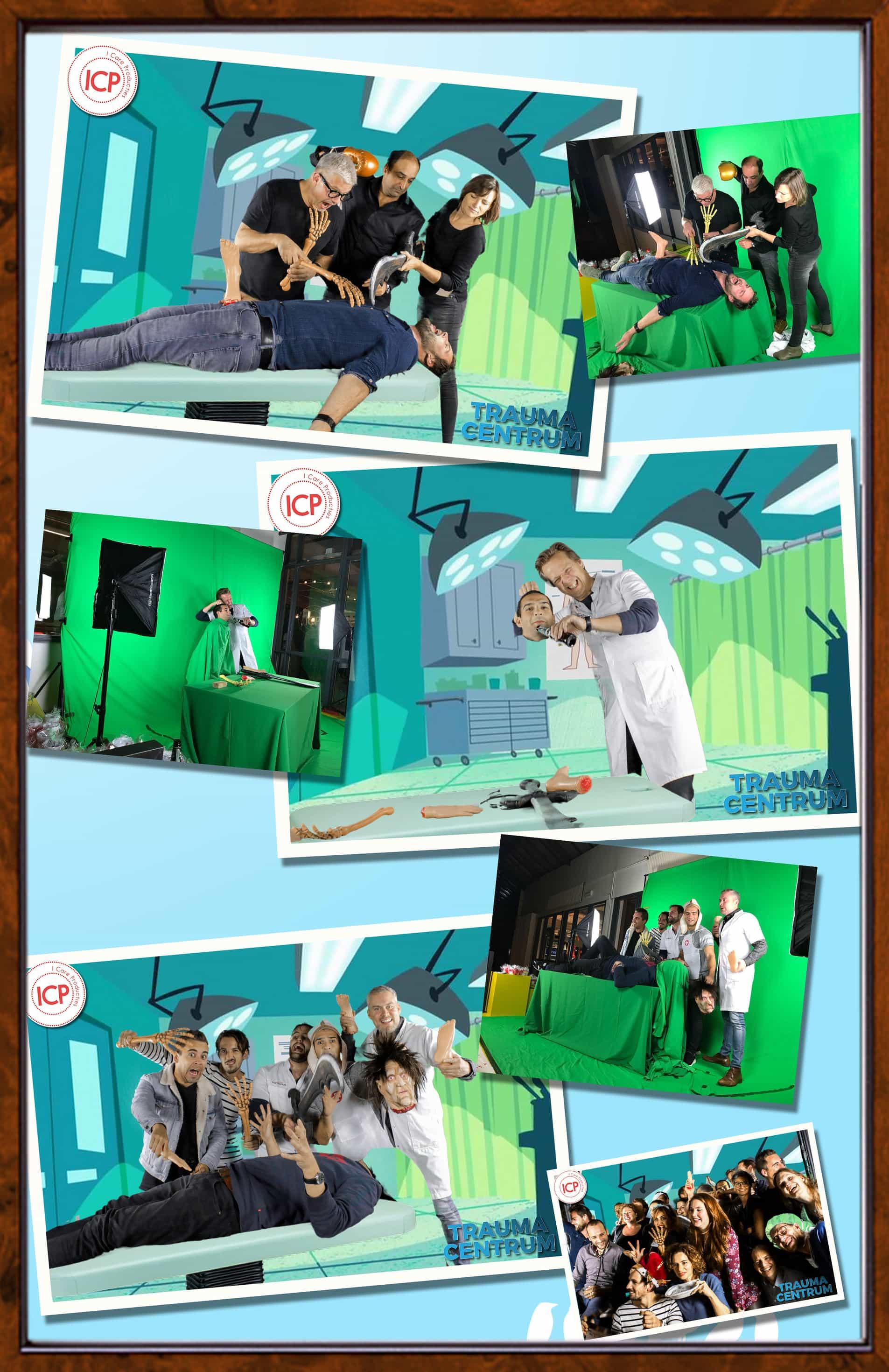 bij ons een green screen huren met ziekenhuis thema en dit i een collage