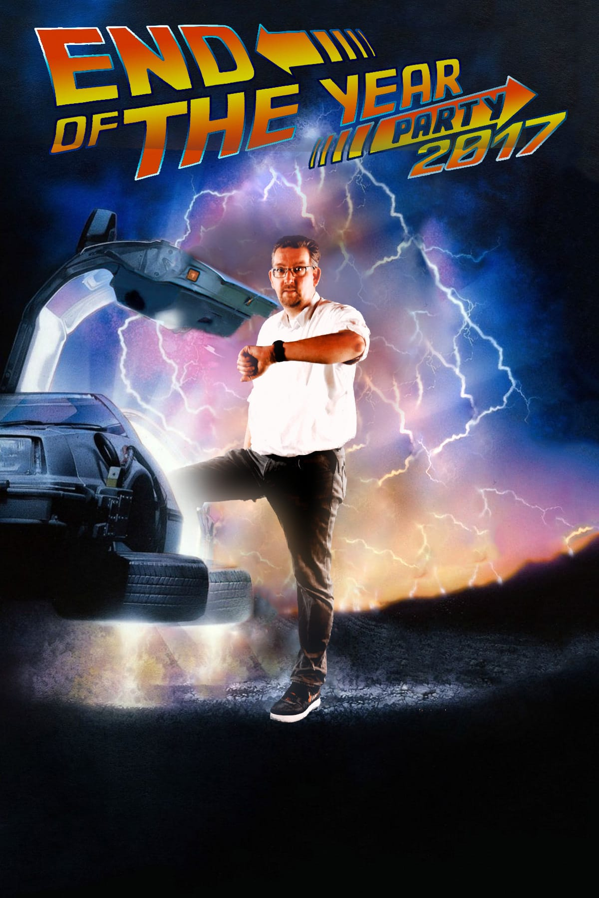 Green screen foto met Back to the future thema
