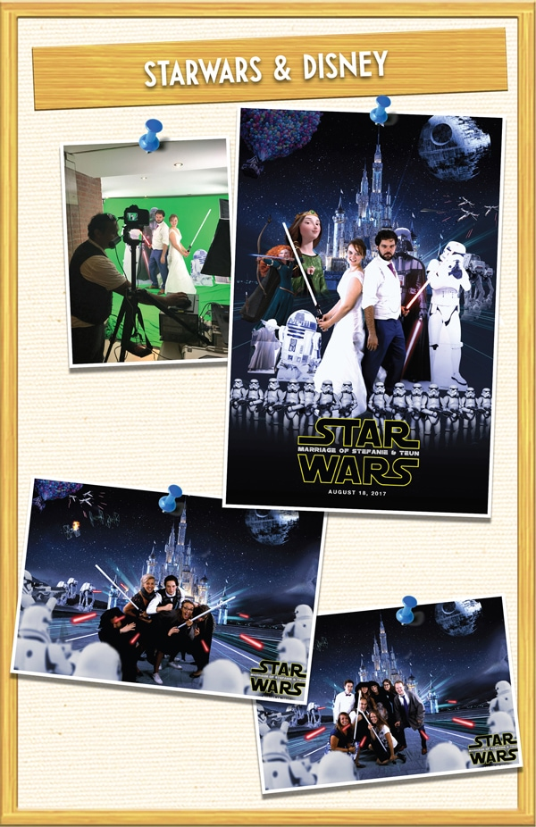 Star Wars vs Disney Thema, greenscreen huren bij trouwfeest