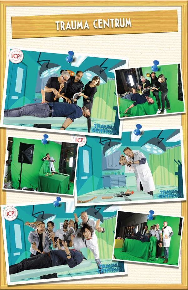 Trauma Centrum Amsterdam collage prikbord met greenscreen foto's