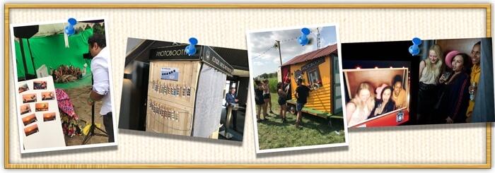 Prikbord met verschillende foto's gemaakt met de photobooth