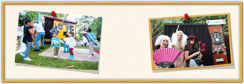 Dansende kinderen en pose met originele fotobooth props bij fotohuisje op festival